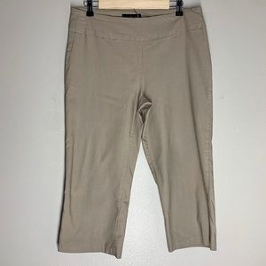 Larry Levine Cropped Casual Pants Fitted Beige Tan
